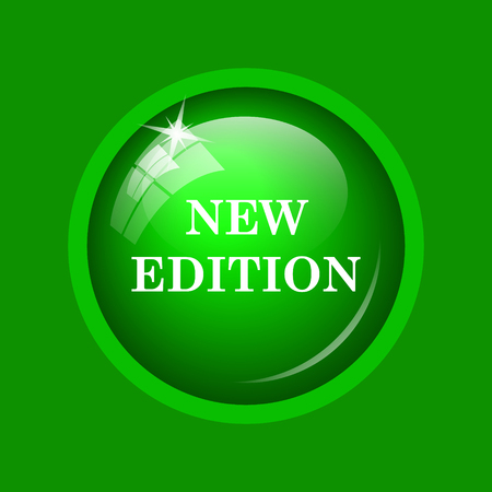 New edition icon. Internet button on green background. Stock Photo