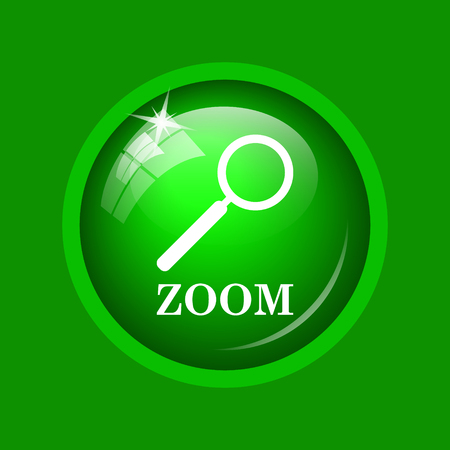 Zoom with loupe icon. Internet button on green background.