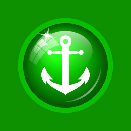 Anchor icon. Internet button on green background. Stock Photo