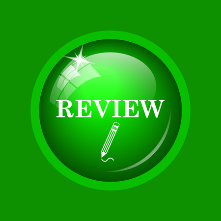 worthy: Review icon. Internet button on green background.