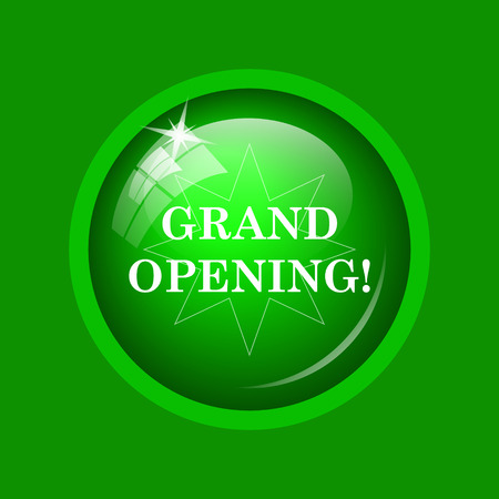 grand sale button: Grand opening icon. Internet button on green background.