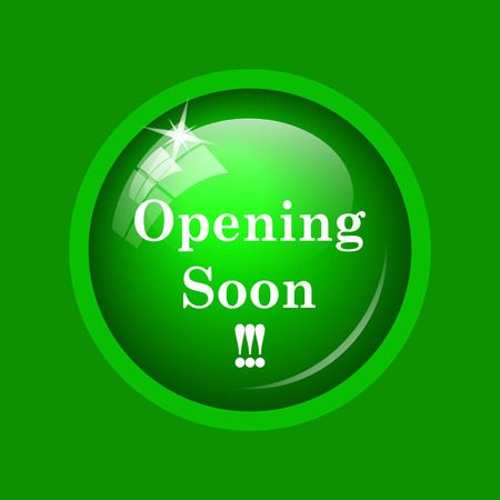 Opening soon icon. Internet button on green background. Stock Photo