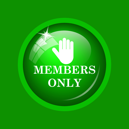 closed community: Members only icon. Internet button on green background.