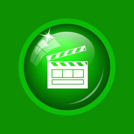 Movie icon. Internet button on green background.