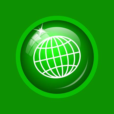 Icono del globo. Botón de internet en fondo verde. Foto de archivo
