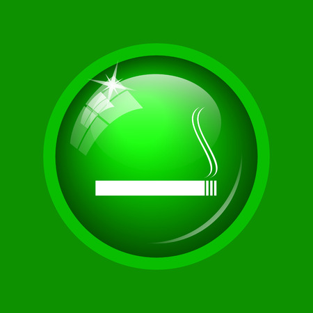 Cigarette icon. Internet button on green background.