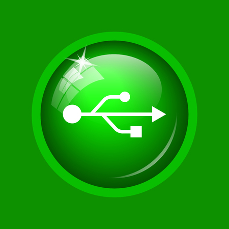 USB icon. Internet button on green background. Stock Photo