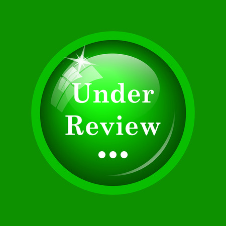 Under review icon. Internet button on green background.