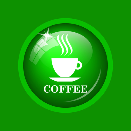 Coffee cup icon. Internet button on green background.