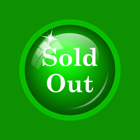 Sold out icon. Internet button on green background.