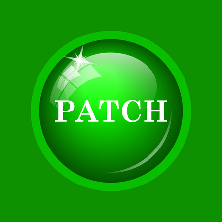 Patch icon. Internet button on green background.