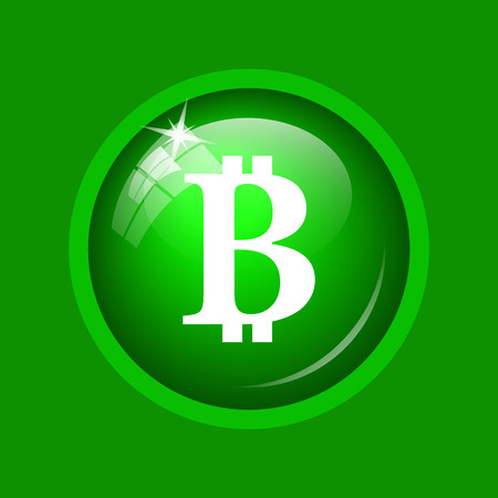 Bitcoin icon. Internet button on green background. Stock Photo