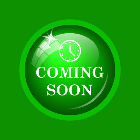 Coming soon icon. Internet button on green background. Stock Photo