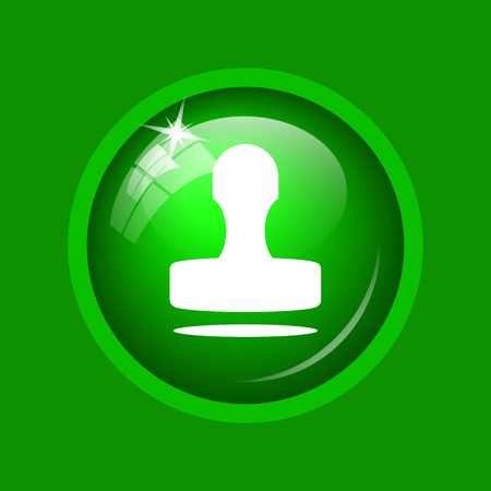 Stamp icon. Internet button on green background. Stock Photo