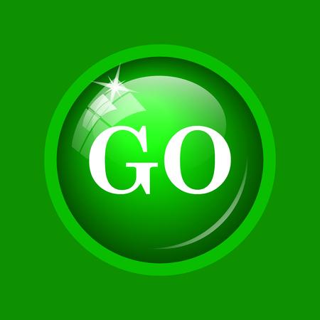 go green background: GO icon. Internet button on green background.