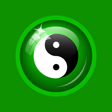 Ying yang icon. Internet button on green background.
