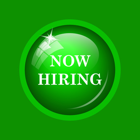 now hiring: Now hiring icon. Internet button on green background.