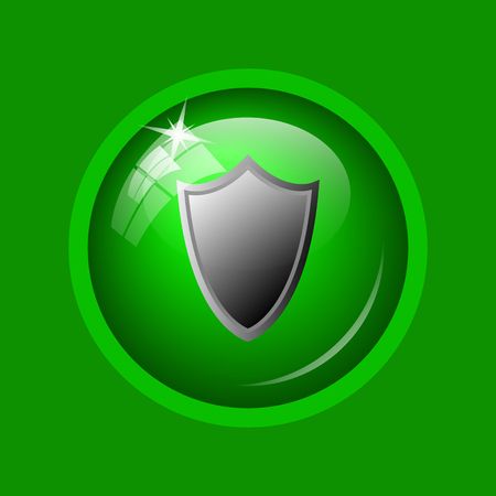 Shield icon. Internet button on green background. Stock Photo