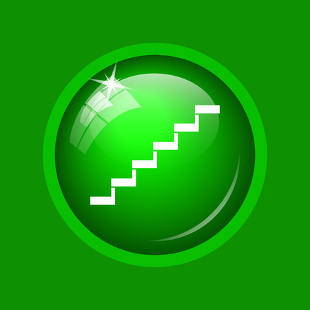 Stairs icon. Internet button on green background.