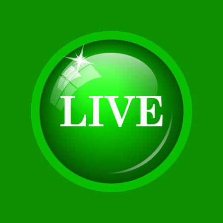 live stream tv: Live icon. Internet button on green background.