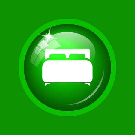 Double bed icon. Internet button on green background.