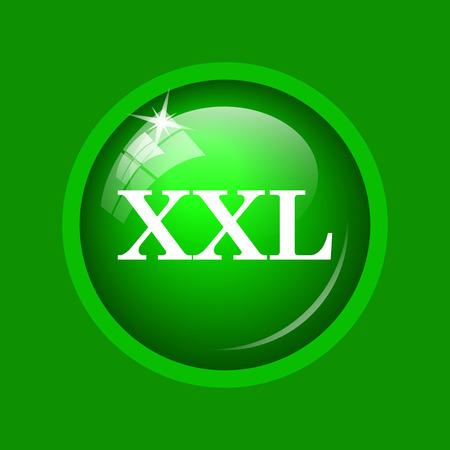 XXL  icon. Internet button on green background.