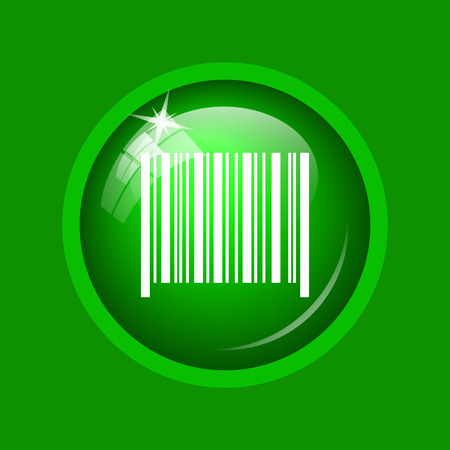Barcode icon. Internet button on green background. Stock Photo