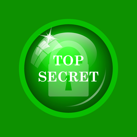 Top secret icon. Internet button on green background. Stock Photo