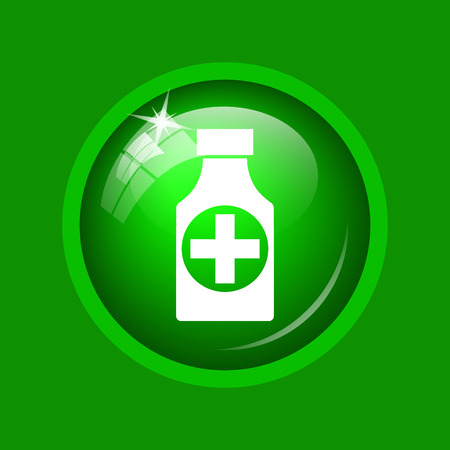 Pills bottle  icon. Internet button on green background. Stock Photo
