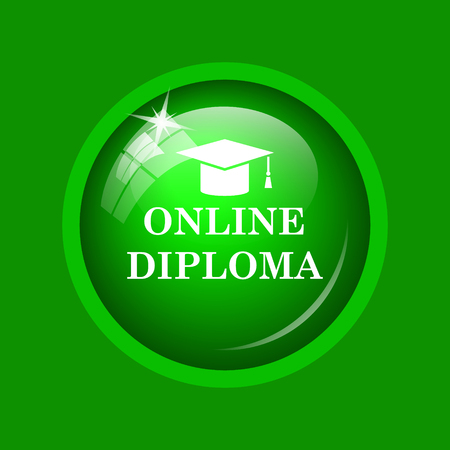 online degree: Online diploma icon. Internet button on green background. Stock Photo