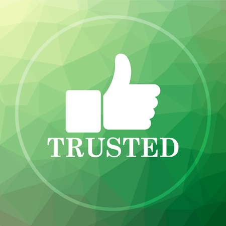 trusted: Trusted icon. Trusted website button on green low poly background.