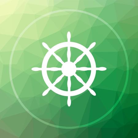Nautical wheel icon. Nautical wheel website button on green low poly background.