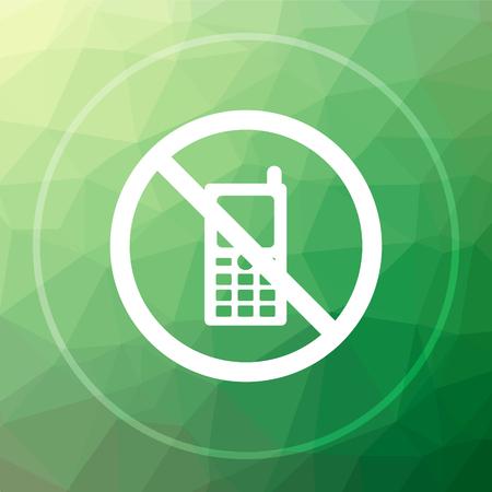 携帯電話は、アイコンを制限されています。携帯電話は、ウェブサイトのボタンを緑の低ポリ背景に制限されます。 写真素材