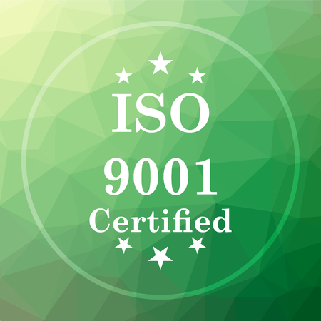 ISO9001 icon. ISO9001 website button on green low poly background. Stock Photo