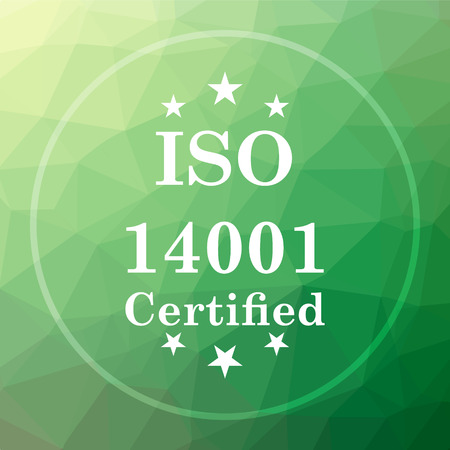 ISO14001 icon. ISO14001 website button on green low poly background.