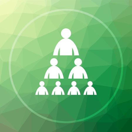 Organizational chart with people icon. Organizational chart with people website button on green low poly background.