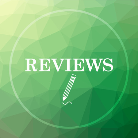 reviews: Reviews icon. Reviews website button on green low poly background.