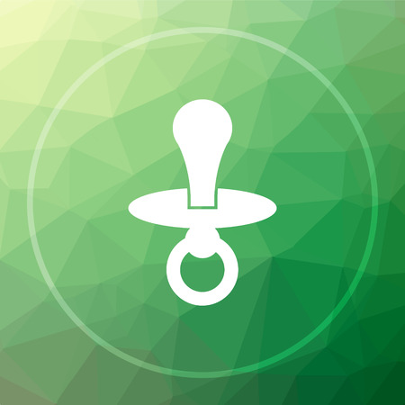 Pacifier icon. Pacifier website button on green low poly background. Stock Photo