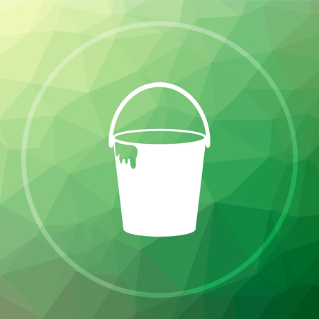 paint container: Bucket icon. Bucket website button on green low poly background.