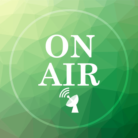 live stream radio: On air icon. On air website button on green low poly background.