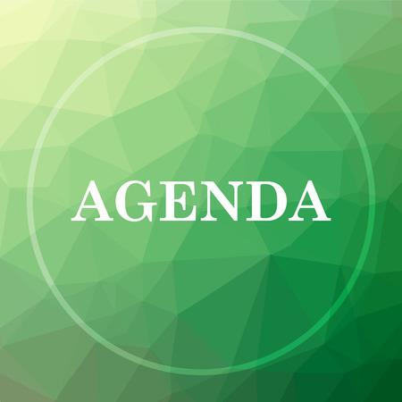 agenda: Agenda icon. Agenda website button on green low poly background.