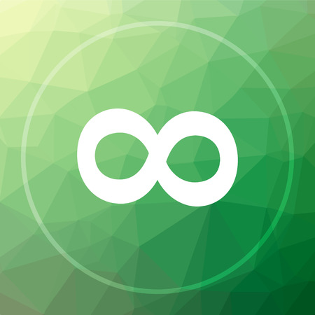 Infinity sign icon. Infinity sign website button on green low poly background.