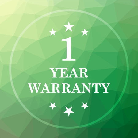 1 year warranty: 1 year warranty icon. 1 year warranty website button on green low poly background. Stock Photo