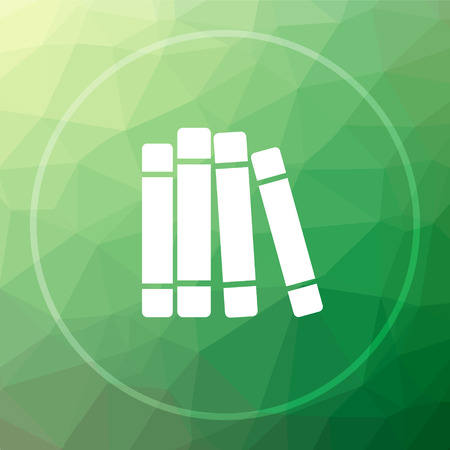 open magazine: Books library icon. Books library website button on green low poly background. Stock Photo