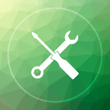 Tools icon. Tools website button on green low poly background.
