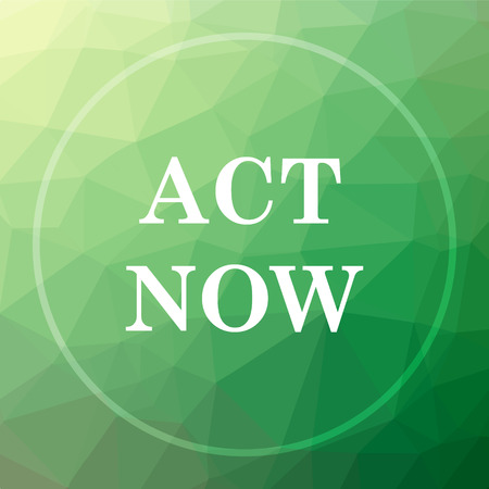Act now icon. Act now website button on green low poly background.