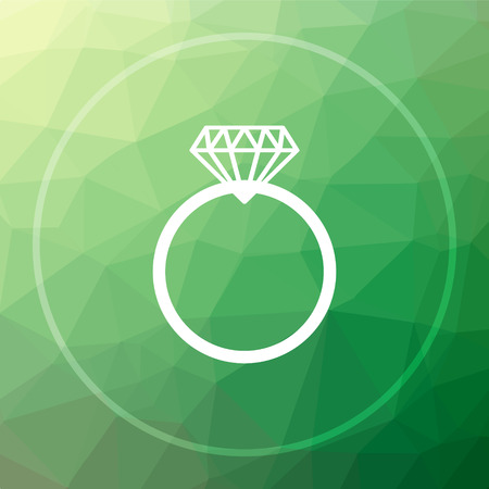 pendent: Diamond ring icon. Diamond ring website button on green low poly background.
