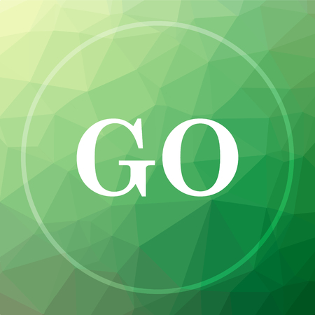 GO icon. GO website button on green low poly background.