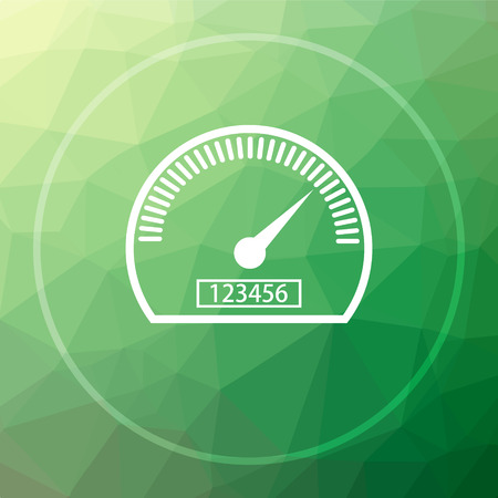 speeding: Speedometer icon. Speedometer website button on green low poly background. Stock Photo