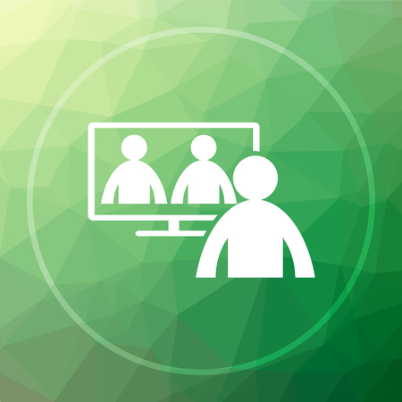 Video conference, online meeting icon. Video conference, online meeting website button on green low poly background. Stock Photo